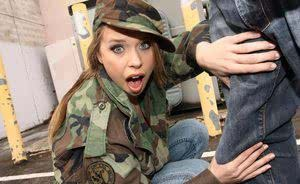 Female army recruiter Anna Stevens gets banged and facialized by a BBC