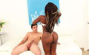 Black dime uncovers her perfect big booty to seduce her white boyfriend
