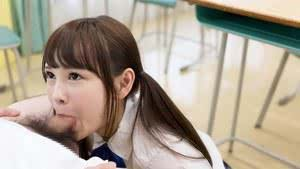 Tiny Asian schoolgirl gets cum on her tongue while sucking her teachers cock