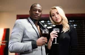 Blonde chick Sierra Nicole enjoys some wine before trying interracial sex