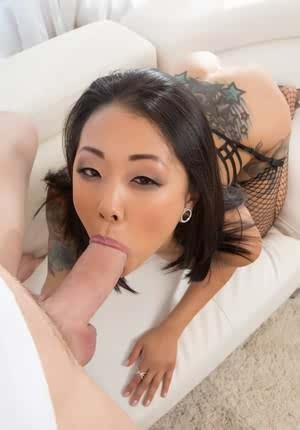 Asian beauty Saya Song wears fishnet stockings while riding a big boner