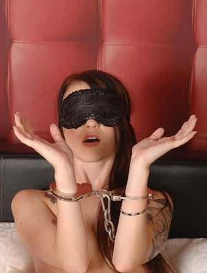 Tattooed fetish freak Misha Cross blindfolded and handcuffed for BDSM play