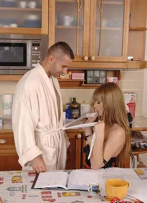 Euro wife Charlyse Bella swallowing cum after giving husband bj in kitchen