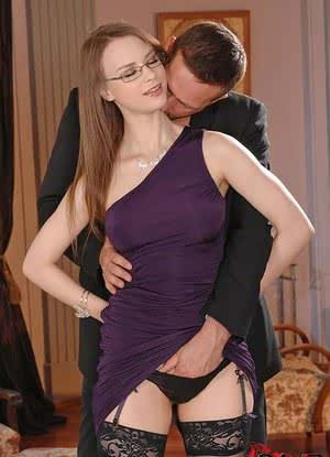 Glasses and stocking attired Beata Undine taking hardcore sex from big cock