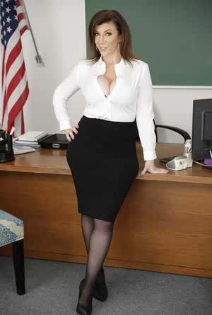 Thick professor Sara Jay seduces a black coworker with her big butt