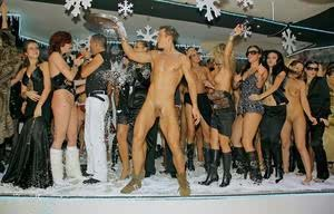 Durnk horny coeds suck male stripper meat  flash tits at all-girl Xmas party