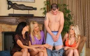 Hot moms shows a young boy the best time of his life with a FFFM sex romp
