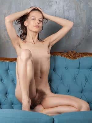 Ukrainian chick with tiny tits Dennie demonstrates her extremely bushy cunt